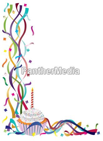 party feier fest kuchen konfetti baender