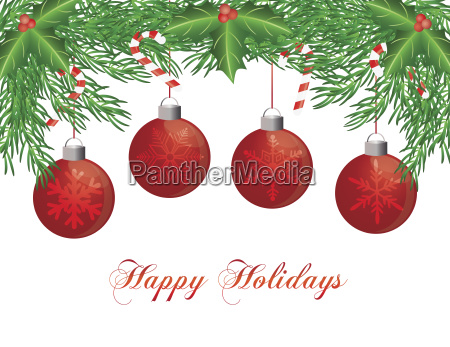 christmas tree garland with ornaments illustration