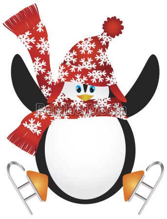penguin with santa hat ice skating