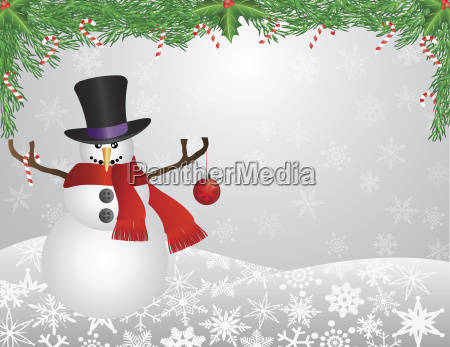 snowman with scarf with garland background