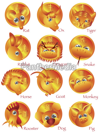 chinese zodiac 12 animals in gold
