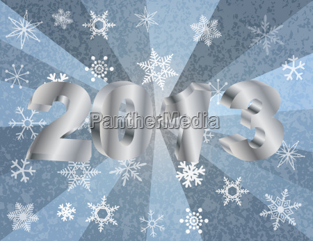 2013 new year numerals in silver