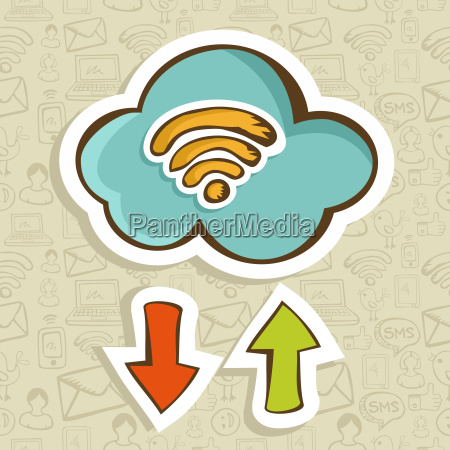 cloud computing cartoon concept