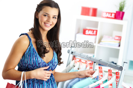 shopper in clothing department