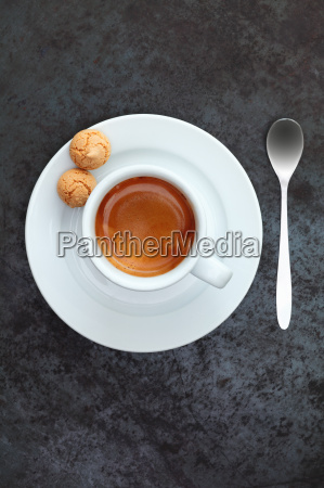 overhead view of espresso coffee in