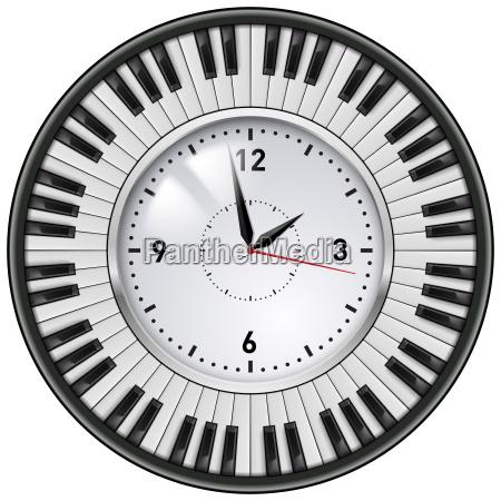 realistic office clock piano keys