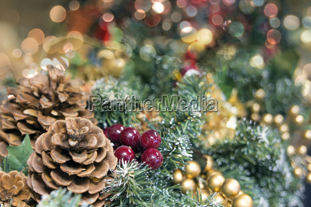 christmas garland decoration with colorful blurred