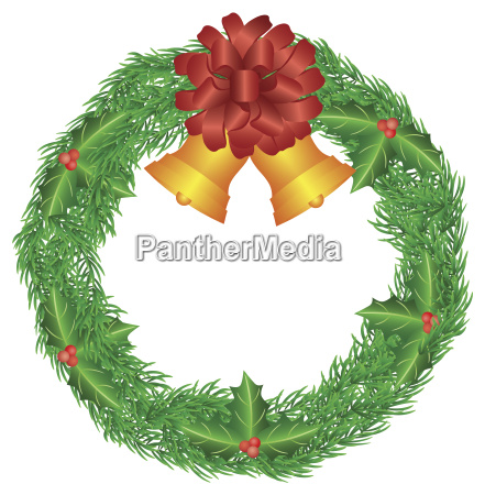 christmas wreath with red bow and