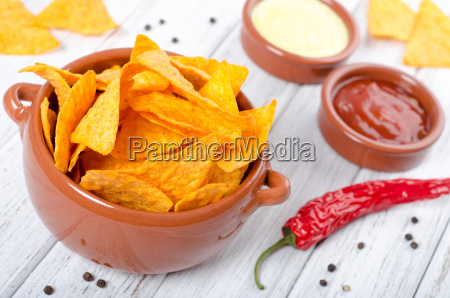 tortilla chips with two dip