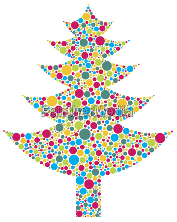 christmas tree silhouette with colorful dots