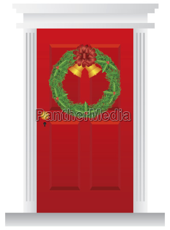 christmas wreath hanging on red door