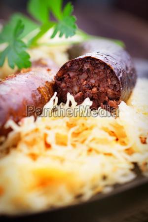 bloody sausage and sauerkraut