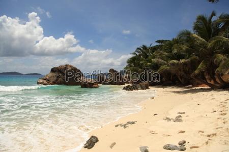 La Digue, Palmen, Sand, Seychellen, Strand, Afrika - 8316799