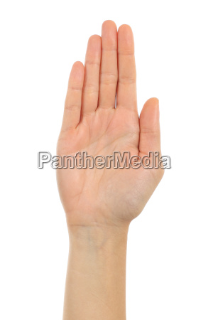 frau palm hand vor