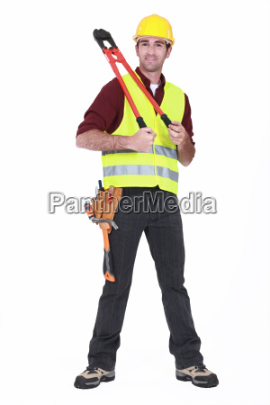 man wearing a hard hat and