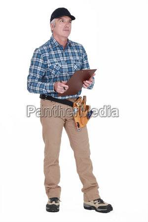 carpenter with a clipboard