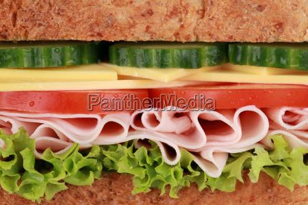 nahaufnahme eines sandwich mit schinken