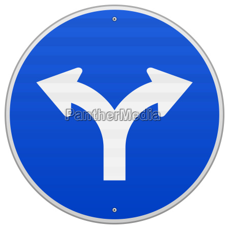 blue sign with two arrows