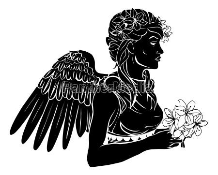 stilisierte engel frau illustration