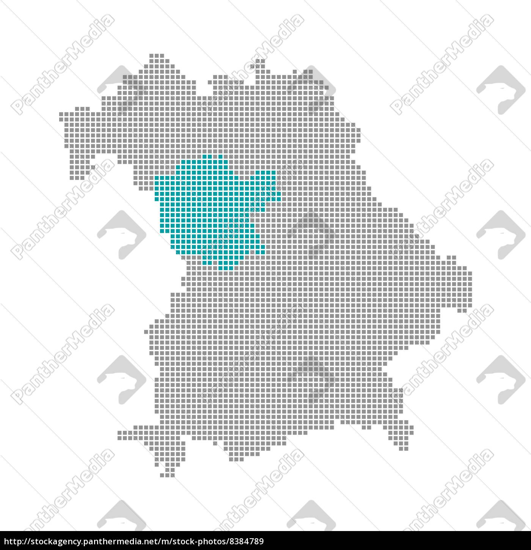 Landkreise Mittelfranken Karte.Lizenzfreies Bild 8384789 Pixelkarte Bezirke Bayern Mittelfranken