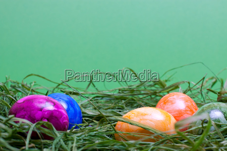 green easter background with eggs