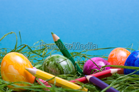blue easter background with eggs and
