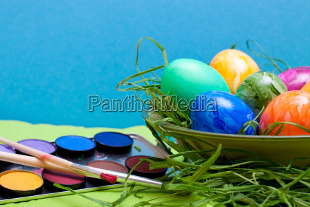 blue easter background with bowl