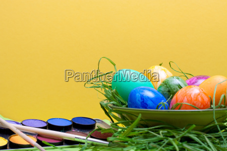 yellow easter background with bowl