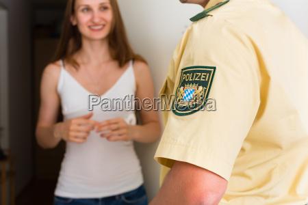 police interviewed woman at front door