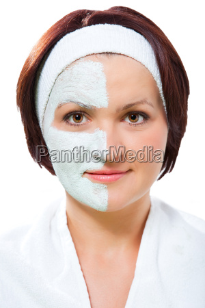 woman with half the beauty mask