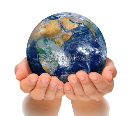 hands of woman holding globe africa