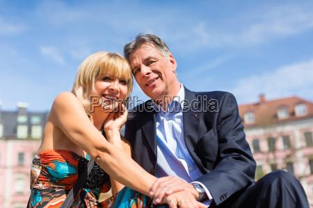 elderly couple in spring in the