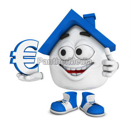 small 3d house blue euro