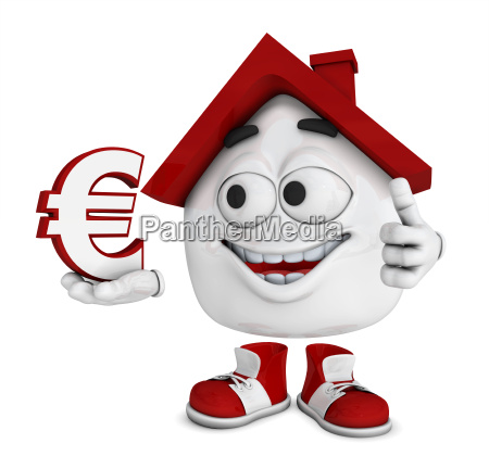 small 3d house red euro