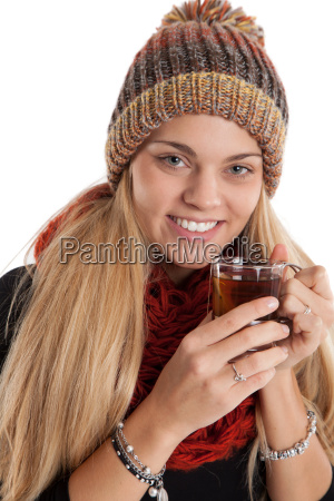 laughing woman with a cup of