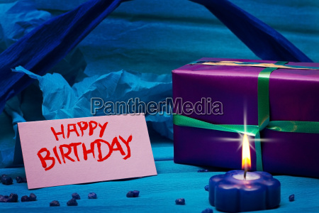 blue background with sign for birthday