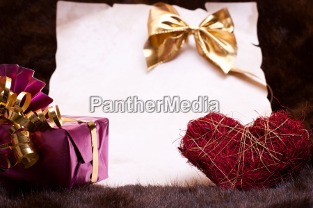 festive background with certificate gift bow