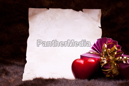 document as background with gift and