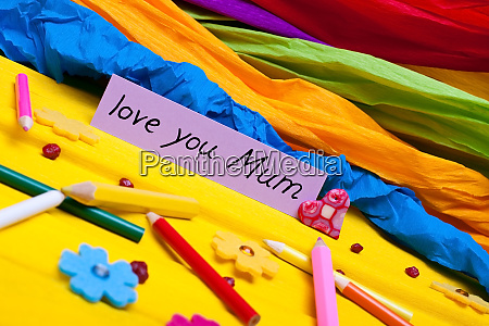 colorful background with sign for mothers