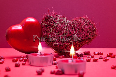 romantic red background with two hearts