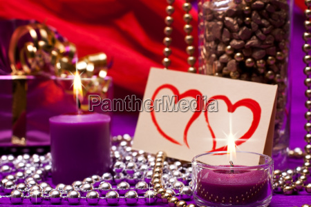 noble background with pearls and candles
