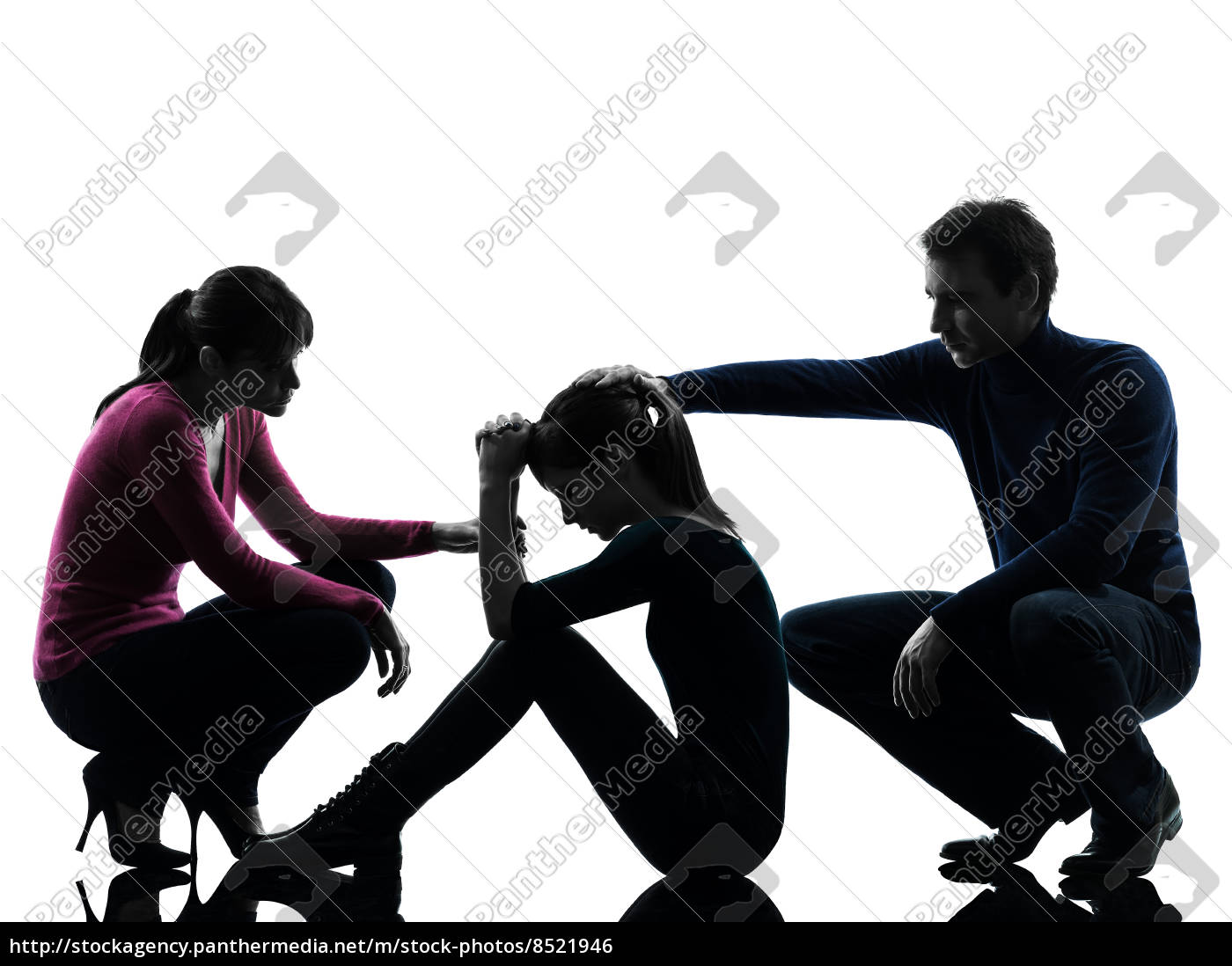 familie vater mutter tröstend tochter silhouette - Stock Photo ...