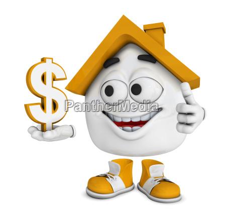 small 3d house orange dollar