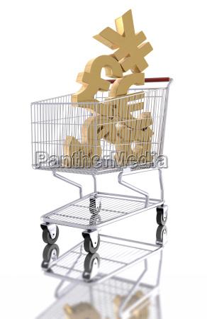 waehrungssymbole in einem einkaufswagen
