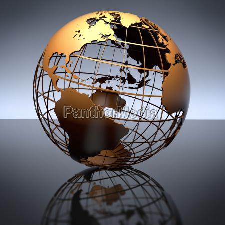 metal globe auf studio reflektierenden hintergrund