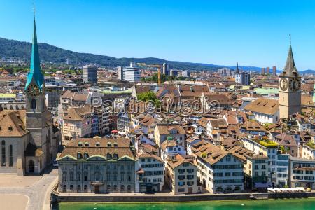 zurich cityscape aerial view