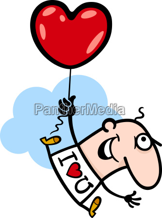 man wit valentine hearth balloon cartoon