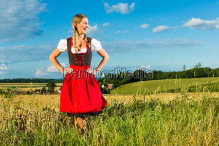 young woman on the meadow and