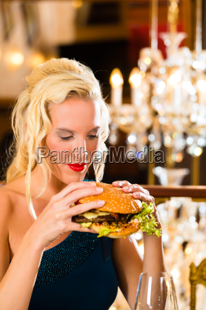 young woman in a fine restaurant