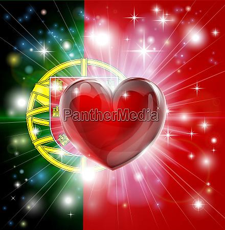 love portugal flag heart background